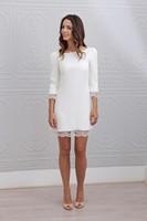2016 New Designer Short Mini Sheath Fitted 3 4 Sleeves Lace Satin Informal Beach Wedding Dresses
