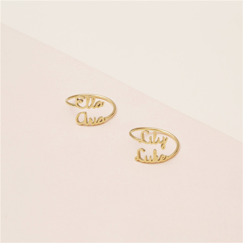 a52379646d41 Anillo de oro plata apilable Anillos Mujer personalizado joyería  personalizada nombre personalizado para mujeres hombres mejores amigos boda  regalo ...
