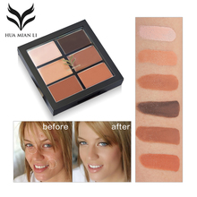 HUAMIANLI Brand 6 Color Concealer Palette Hide Blemish Acne Makeup Face Contour Waterproof Highlighter Cream 3D Face Cosmetics