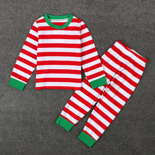 Boy Girl Cotton Pajamas Children Green Red and White Striped Christmas  Stripe Baby Pyjamas Autumn Baby Pijama Infantil Kids Girl cb4c14849d31