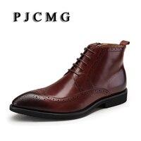 PJCMG סתיו של גברים באיכות גבוהה עור אמיתי שחור/אדום הבוהן מחודדת קרסול שרוכים אוקספורד הרים עבודה גודל מגפי: 39-44