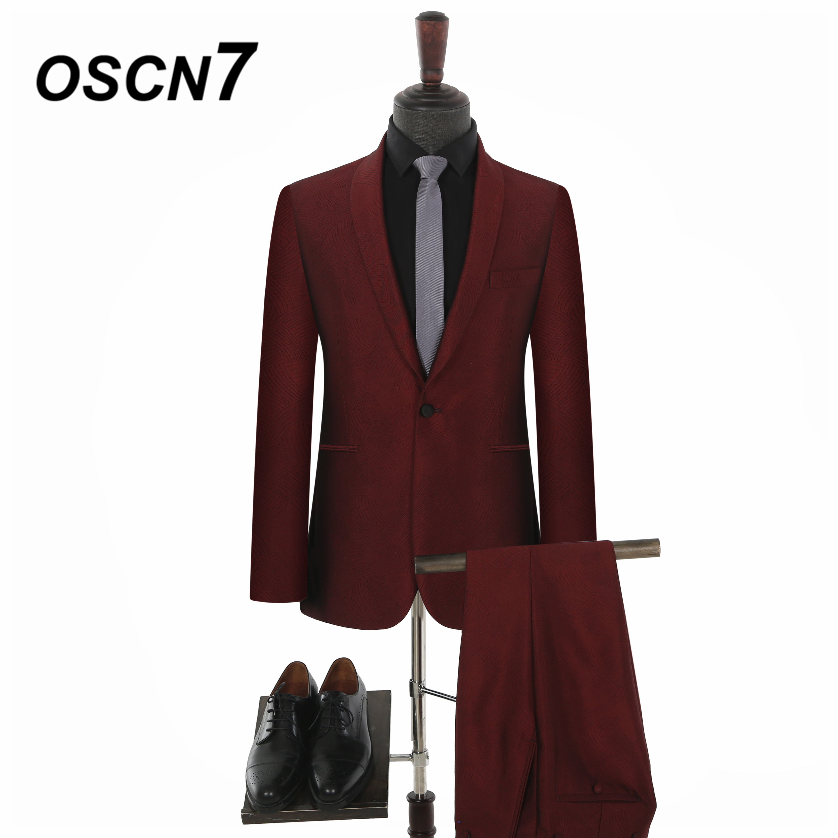 OSCN7 Plain Shawl Lapels Groom wedding Tailor Made Suits 2PC