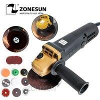Zonesun angle grinder 11500r/min máquina de polimento de corte roda mão concreto elétrico moagem angular doméstica multifuncional