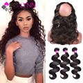 mslynn 360 Lace Frontal With Bundle Brazilian Body Wave,3 Bundles With Closure,Soft Human Hair Lace Frontal Closure With Bundles