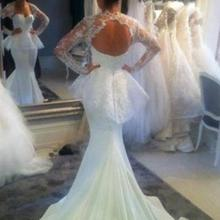 XGGandXRR Mermaid Wedding Dresses Long Sleeves Court Train
