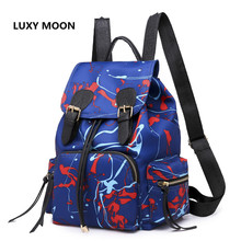 Luxy moon High Quality New 2019 Backpack Women and Men nylon Graffiti Korean Style Two-piece Fashion Trend Bag Send a Small Bag