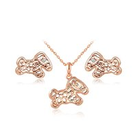 Cute Charm Crystal Horse Pendant necklace and earring jewelry sets for women RHao Brand girls birthday gift lovely jewelry sets