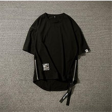 Fashionable leisure male street oversize five-cent sleeve T-shirt Hip-hop style Two side zipper slit short sleeve new 2018(China)