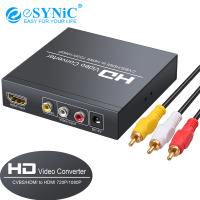 eSYNiC 1080p AV + HDMI To HDMI Converter With CVBS Coaxial Stereo Audio For DVD,HD Player,Game Console Power Adaptor Converter