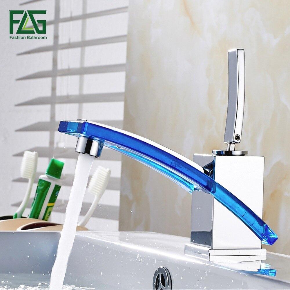 FLG robinet de salle de bain en gros et au détail Long bec bassin robinet d'eau chaude froide en laiton verre vanité évier mélangeur robinet 249-11C