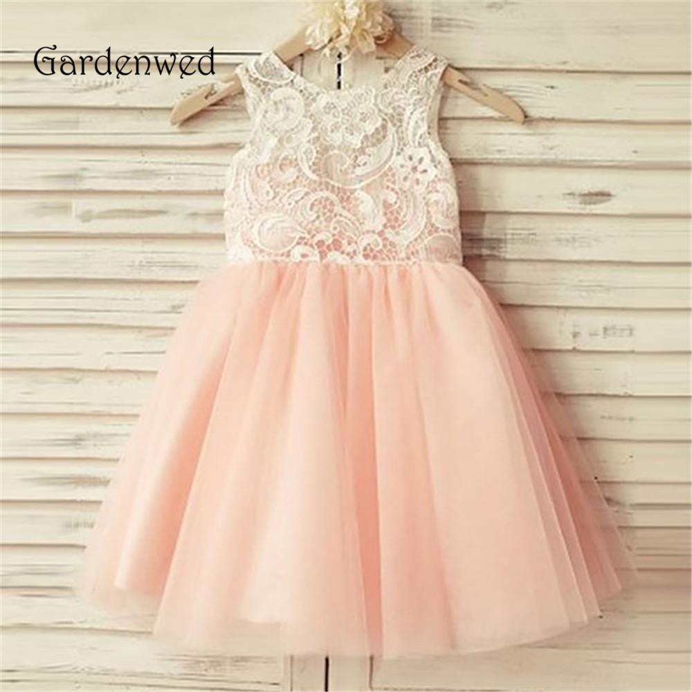 Fine dentelle corsage rose doublure une ligne petites filles robes 2019 haut dos boutons bébé robes de mariée pour filles enfant enfants robe