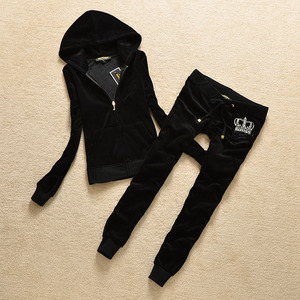 Image 2 - Brand Sweatsuit Velvet Fabric Tracksuits Velour Outfits Hoodies Tops and Sweat Pants Set S  XL