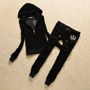 Image 2 - Marka Eşofman Kadife Kumaş Eşofman Kadife Kıyafetler Hoodies Üstleri ve Ter pantolon seti S xl