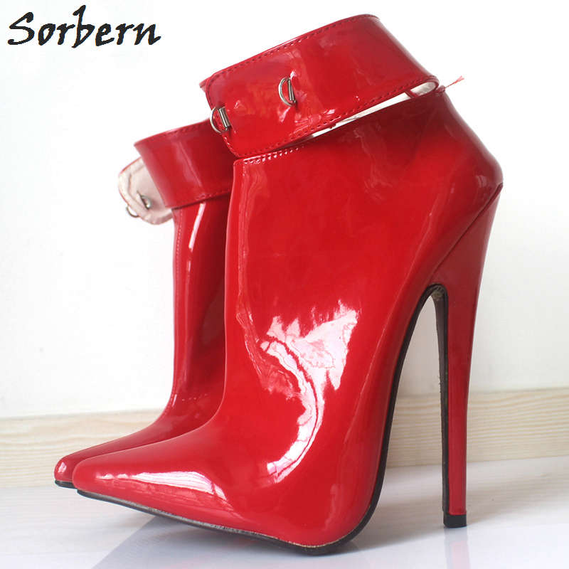 Sorbern Ankle Boots 18cm Heels Botines Mujer 2018 Pointed Toe Patent Leather With Lock Ankle Boots For Women Plus Size Boot