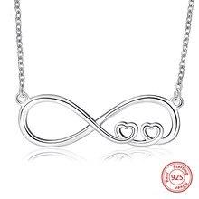 39fd892e211c De corazón de Plata de Ley 925 colgante infinito collar 8 figura siempre  enlace cadena Collar para mujeres regalos