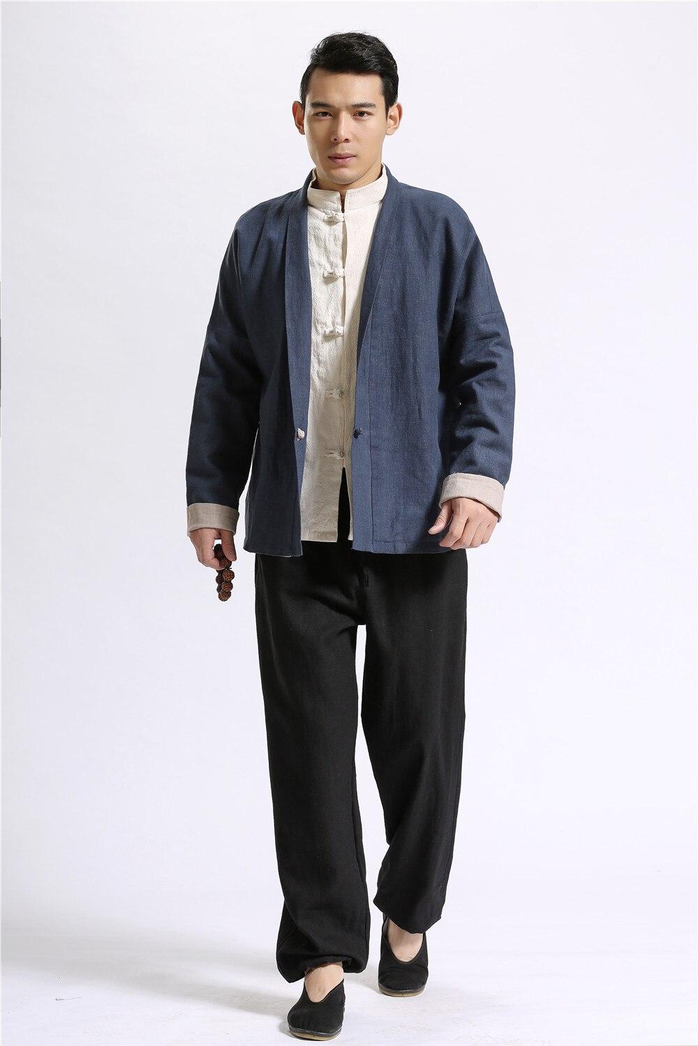 Double Side Wear Mens Jacket High Quality Linen Kimono Cardigan ...
