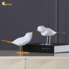 Nordic Minimalist Original Resin Bird Figurine Home Furnishing Decor Craft For Christmas Peace Dove Statue Home Office Mascot