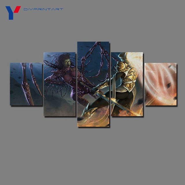 Starcrafts Diablos Characters 5 Panels Decorations for Home Game Poster Wall Painting Living Room A0985 5