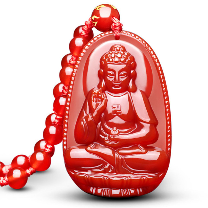 Buddha Guardian Gods Pendant Necklace Women Men Red Onyx Carved Buddha Lucky Amulet Pendant Necklace Jewelry