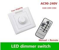 High voltage IR control LED dimmer switch AC90 265V 110V 220V 230VManual + Remote Control