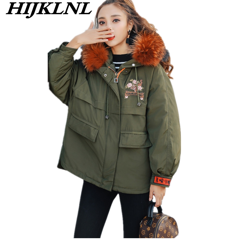 2019 New Women Winter   Down     Coat   Loose Large Size Solid Short   Down   Jacket Fashion Warm Raccoon Fur Collar Hooded Outerwear CW103