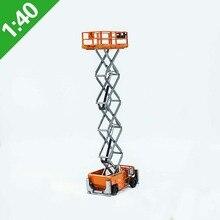 Высокая имитация 1:40 высота грузовик Ножничные воздушные работы платформа Игрушечная машина из сплава Модель Коллекция оранжевый мальчик подарок оригинальная коробка