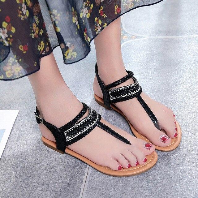 b7b1d8ed0967 MUQGEW Fashion Women Sandals 2018 Summer Bohemian Diamond Sandal Shoes  Women Gladiator Sandals Roman Flat With Flip Flops