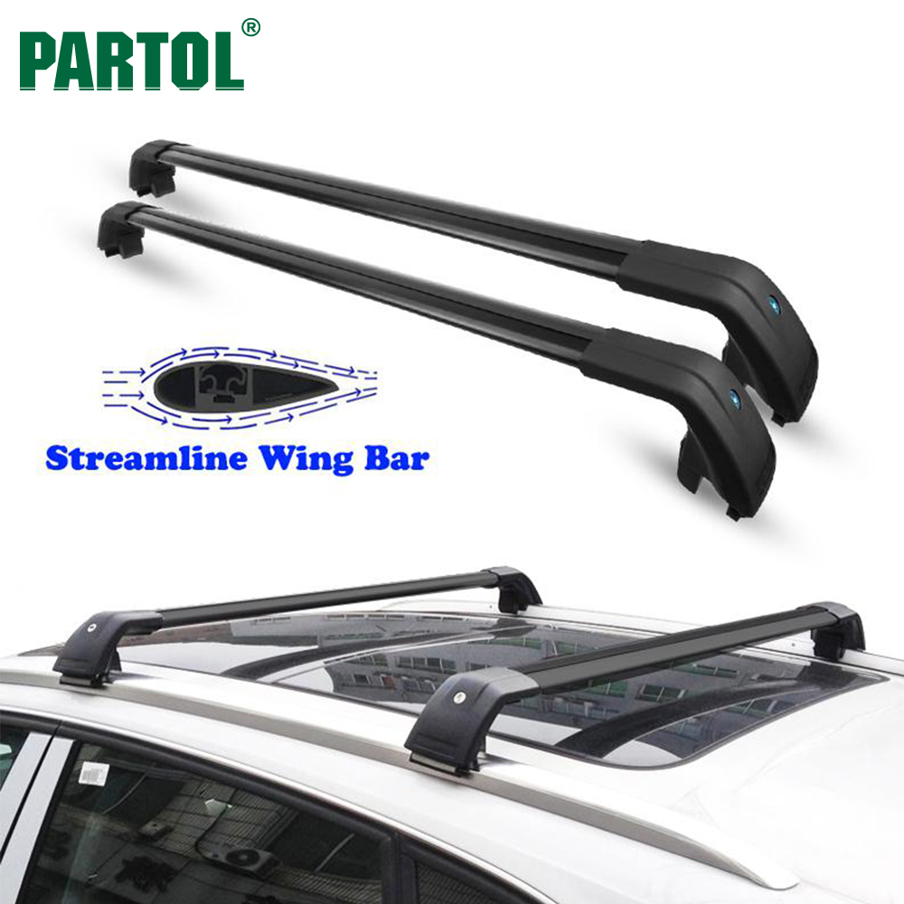 Partol Universal Car Roof Rack Cross Bars Crossbars with Anti-theft Lock 60KG/132LBS Cargo Basket Carrier Snowboard Luggage Top partol car roof top cross bars roof rack cross bars rail carrier 150lbs aircraft aluminum for mazda cx 7 2007 2008 2009 2010 12