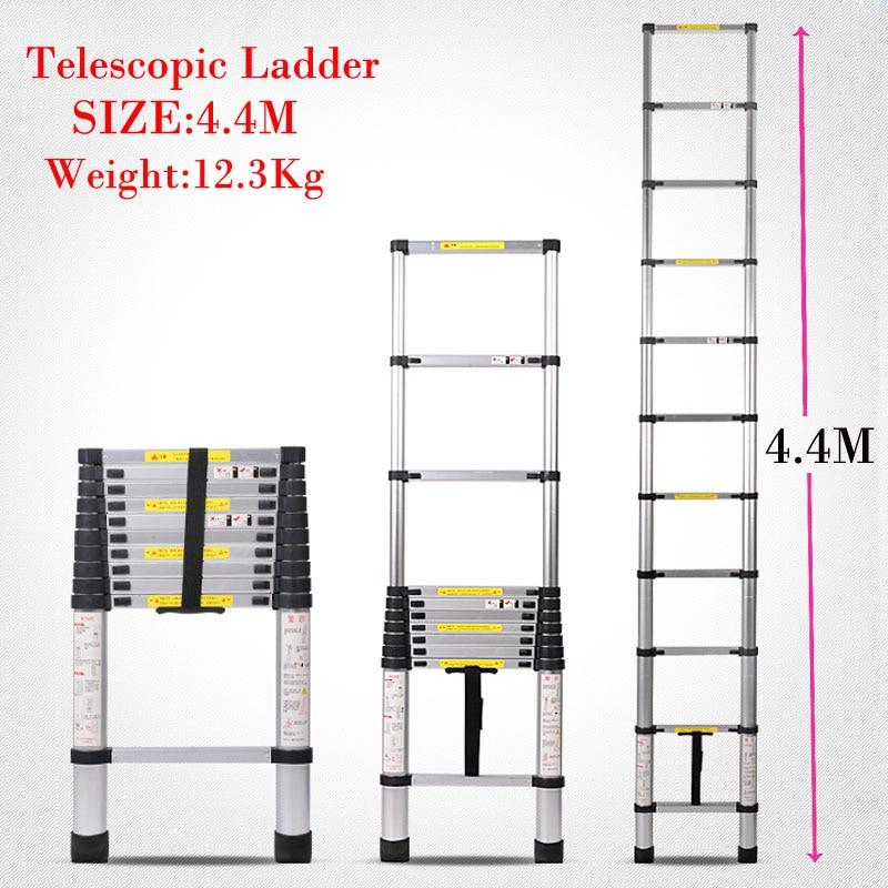 Aluminum alloy stairs High quality aluminum telescopic ladder household stair portable folding ladder ladder 4.4 meters Doorways goolrc original high quality aluminum