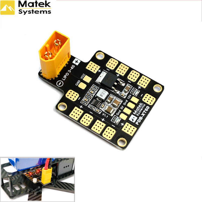 Matek Systems PDB XT60 W/ BEC 5V & 12V 2oz Copper For RC Helicopter FPV Quadcopter Muliticopter Drone Power Distribution Board