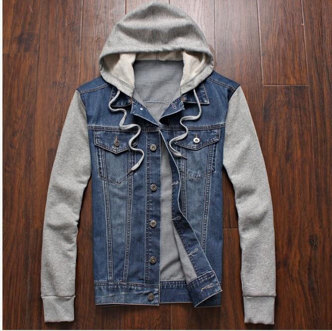 2020 Men's Stitched Denim Jacket Detachable Rice Knit Sleeve Hooded Jacket
