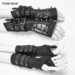PUNK RAVE Gothic Industrial Black Leather Imitation Fingerless Gloves Rock Motorcycle Women Long Gloves Arm Warmers Accessories