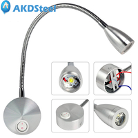 AKDSteel 220V 3W Flexible Gooseneck Arm Reading Light 100 200lm Wall Mounted 360 Degree LED Bedside