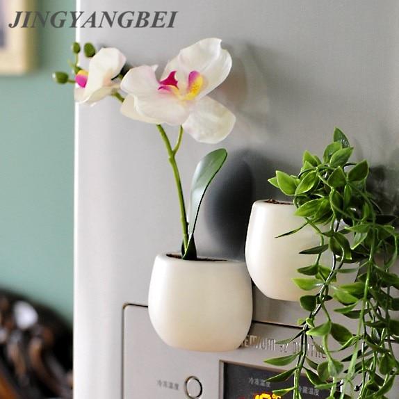Fridge Magnets Potted Artificial Green Succulent Plants Bonsai Set Fake Flower Vase Souvenir Blackboard Magnetic Stickers