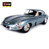 Bburago 1:18 Jaguar e type coupe blue grey noble car diecast classic luxury car model motorcar version for men collecting 12044