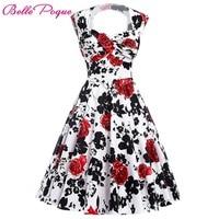 Womens Summer Style Retro Vintage 50s Party Dresses Audrey Hepburn Elegant Floral Print Vestidos Robe Rockabilly