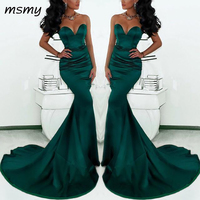 Gorgeous Sweetheart Long Emerald Green Mermaid Evening Gowns 2019 Satin Fishtail Special Occasion Prom Dresses For Women