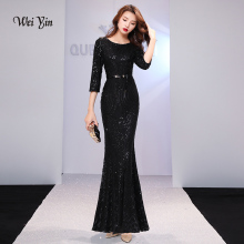 weiyin Black Evening Dresses Long Sparkle 2019 New O-Neck Women Elegan