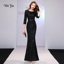 weiyin Black Evening Dresses Long Sparkle 2019 New O-Neck Wo