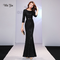weiyin Black Evening Dresses Long Sparkle 2019 New O Neck Women Elegant Sequin Mermaid Maxi Evening Party Gown Dress WY1261