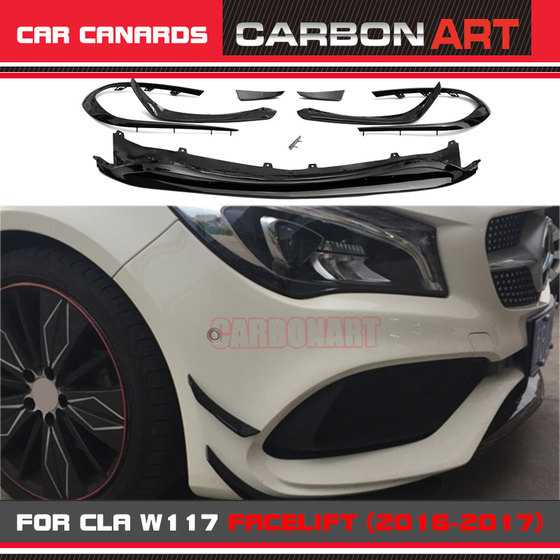 CLA Class CLA45 Style Front Bumper Canards Apron W117 Front Lip Fin for Mercedes 2016-2017 Facelift Sports versionCLA Class CLA45 Style Front Bumper Canards Apron W117 Front Lip Fin for Mercedes 2016-2017 Facelift Sports version