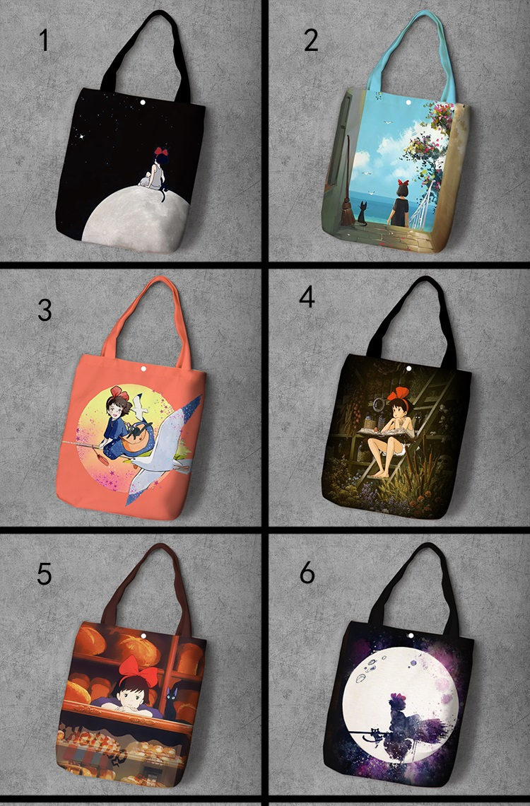Kiki's Delivery Service Cartoon Printed Recy Canvas Shopping Bag Large Capacity Customize Tote Fashion Lady Casual Shoulder Bags