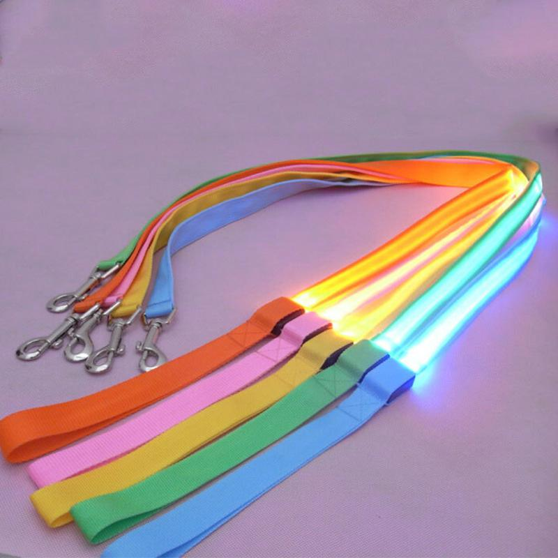 HobbyLane Nylon LED Light Pets Traction Rope Luminous Harness Safety Collars For Dogs Luminous Traction Rope