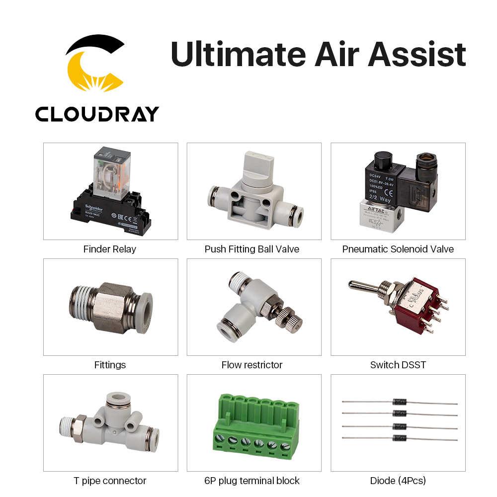 Cloudray Ultimative Air Assiast Set für CO2 Laser Schneiden Gravur Maschine
