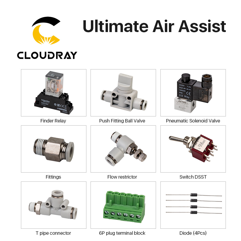 Ensemble dassiast dair ultime Cloudray pour Machine de gravure Laser CO2Ensemble dassiast dair ultime Cloudray pour Machine de gravure Laser CO2