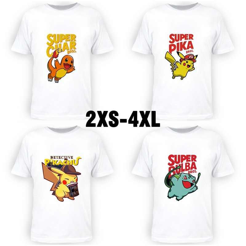 Pokemon Pikachu nowy lato śliczne T drukowanie bawełna z krótkim rękawem z krótkim rękawem koszulka Unisex Casual Cartoon Tee Plus rozmiar A19611