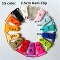 """(15 cores misturadas) 60 pcs 1 """"25mm Hot forma D Kam Plastic clips Bebê Chupeta Manequim Cadeia Titular Suspender Clips para 2.5 cm fita"""