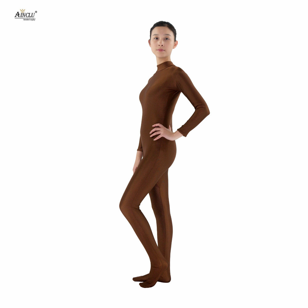 Ainclu Free shipping Women Lycra Spandex Brown Skin-tight Without Head and Bare Hands Adults Dancewear Costume Hallween Bodysuit