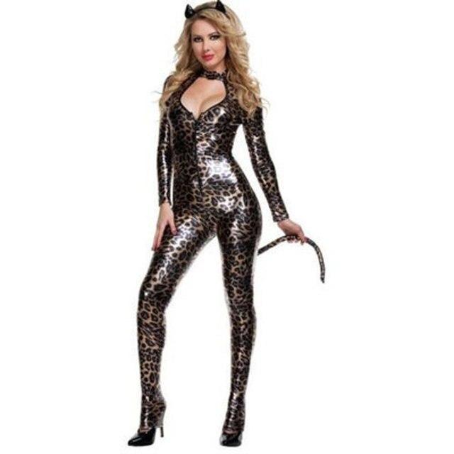7b24d1297ac Черный Искусственная кожа боди пикантные леопардовые ПВХ латекс комбинезон  Косплэй Хэллоуин catwomen костюм женщины кошки для