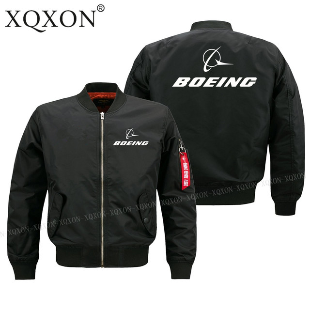 XQXON-Autumn winter pilot man jacket new printed Boeing aircraft logo design men Coats Jackets S-6XL J322